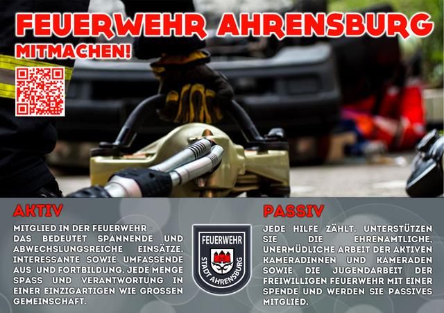 In der Feuerwehr Ahrensburg mitmachen. - Ob als aktives Mitglied und die Arbeit passiv Unterstüzten.